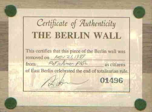 Berlin Wall for Sale - Certificate of Authenticity